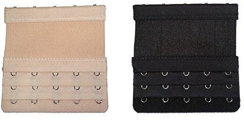 Set of Bra Extenders Hooks with Elastic (2 Extenders 5 Hooks Elastic (Black & Beige))