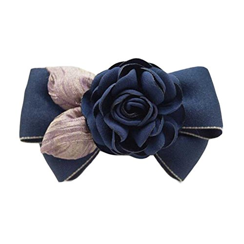 Tissu à cheveux Pin à main Barrettes Accessoire Rose Hair Barrette Dark Blue Bowknot