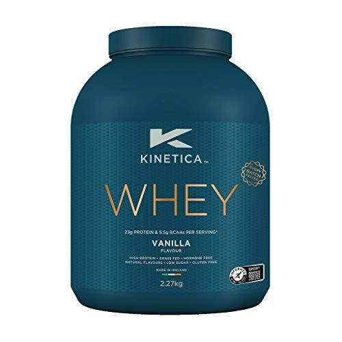 Kinetica Whey Protein in polvere, 76 dosi, vaniglia, 2.27 kg. Basso contenuto di carboidrati, siero proveniente da allevamento al pascolo