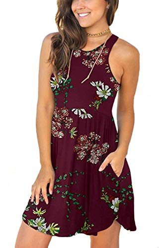 YUNDAI Women's Sleeveless Casual T Shirt Dresses Swing Elastic Sundress with Pockets M Flower Wine Red