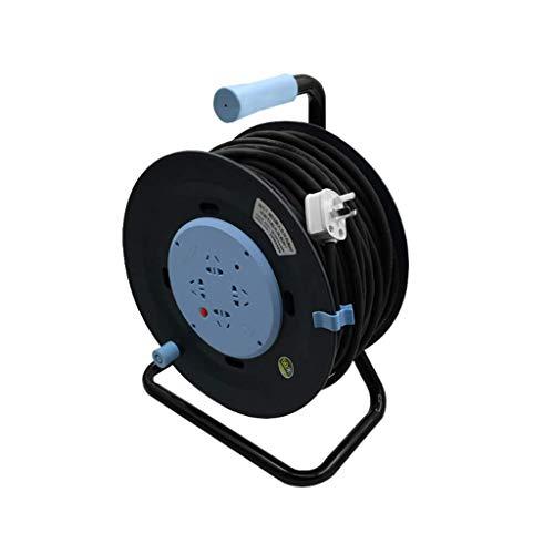 L.BAN Standard 4-Wege-Steckdosen-Kabeltrommel (5 m Verlängerungskabel), Kabeltrommel mit thermischem Abschaltschutz, Kabelfarbe: Hellblauer Verlängerungskabelhalter (Größe: 3 *