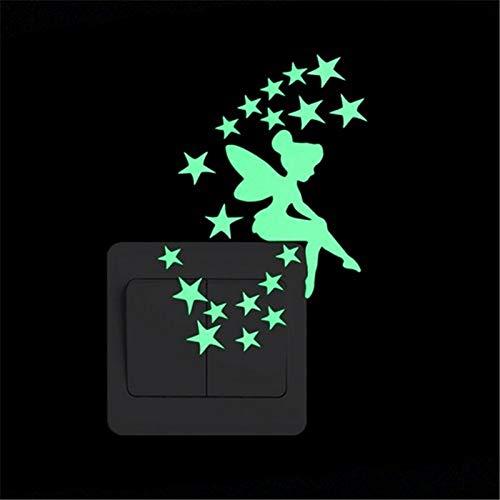 Ykmtewy 5 dibujos animados luminoso interruptor pegatinas luminosas de la pared de la decoración del hogar de los niños decoración de la habitación pegatinas calcomanías gato hadas luna estrellas