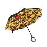 MNSRUU Parapluie Inversé/Réversible Expressions Visage Emoji Parapluie Pliant Long Parapluie Coupe-Vent Double Couche Inversé Autonome pour Homme et Femme