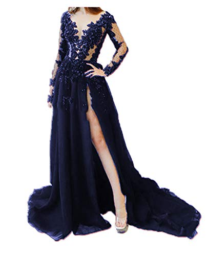 MariRobe Women's Lace Appliques Backless Formal Dresses Illusion High Split Evening Dresses Lace Formal Gown US22 Navy (Apparel)