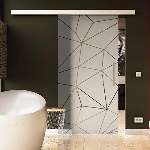 SoftClose/SoftStop Glasschiebetür 1025 x 2050 mm im Design Origami Levidor® EasySlide-System komplett Laufschiene und Stangengriff beidseitig. Echtglas