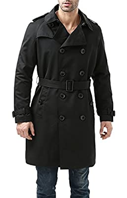 BGSD Men's Waterproof Classic Double Breasted Trench Coat with Removable Liner Black X-Large from