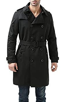 BGSD Men s Waterproof Classic Double Breasted Trench Coat with Removable Liner Black Large