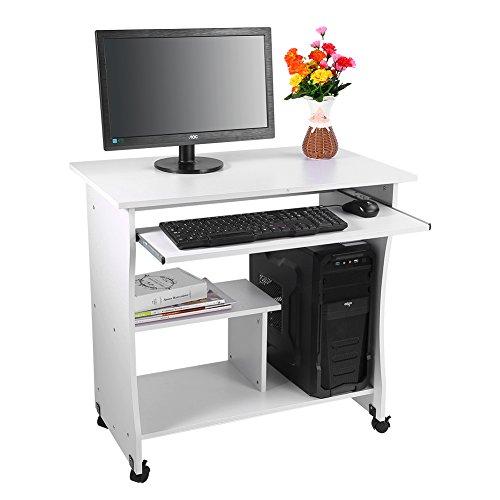 Yosoo scrivania tavolo dell' computer, PC di scrivania compatta mobile pc con ruote, portatastiera per ufficio o a casa bianco
