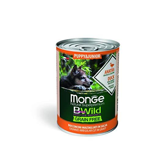 Monge Cane Umido BWILD Grain Free Puppy & Junior BOCCONCINI con Anatra,Zucca E ZUCHINE 12 X 400 GR.