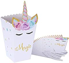 Unicorn Popcorn Boxes, Standie 24 Pcs Unicorn Popcorn Treats Boxes Unicorn Popcorn Treat Boxes Popcorn Boxes Party Favors for Unicorn Party Supplies