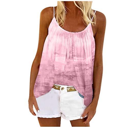 TAMALLU Women Elegant Beach Wild Holiday Elastic Tie-dye Print Tunic Retro Brief Tank Tops(Pink,XS)