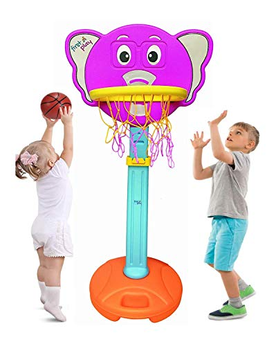 first play Non Toxic Virgin Plastic Elephant Basketball Set with Stand, Small Basketball for Boys and Girl, Adjustable Height Upto 62 Inch, Multicolour