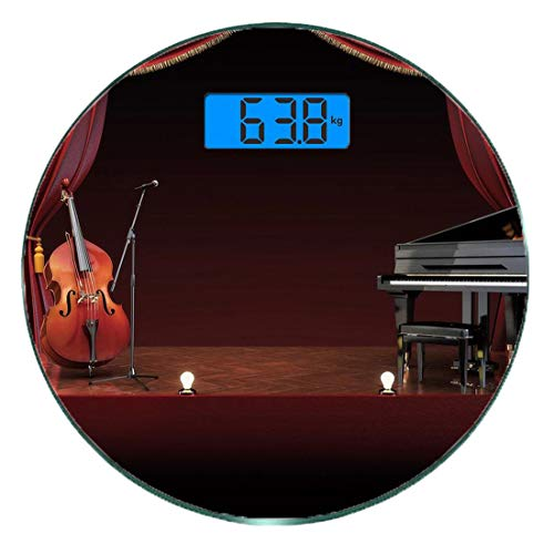 Digitale Präzisionswaage für das Körpergewicht Runde Musiktheater Ultra dünne ausgeglichenes Glas-Badezimmerwaage-genaue Gewichts-Maße,Orchestersinfonie Thema Bühnenvorhänge Piano Cello, Burgund Braun