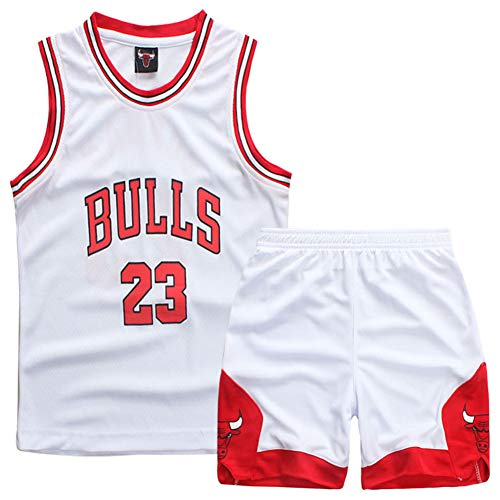 GAOZI Kinder Junge Basketball Trikot Bulls 23# Jordan Retro Basketball Shorts Sommer Trikots Basketballuniform Top und Hose