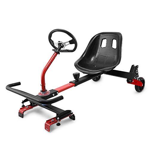 Hoverboard-Sitze, Hoverboard-Kart-Zubehör, Elektroroller für Kinder und Erwachsene-Rot mit Lenkrad (Schutzausrüstung + Blitz senden)