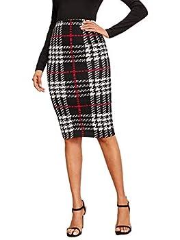 Floerns Women s Plaid Print High Waist Knee Length Bodycon Pencil Skirt A Black Red XL
