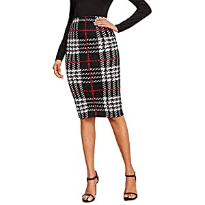 Women's Plaid Print High Waist Knee Length Bodycon Pencil Skirt