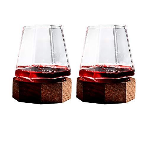 Tumbler Wijnglas 350ML Conische Bodem Ontwerp Loodvrij Kristal Glas met Fijn Hout Basis Draaibaar 100% Handgemaakte Rode Wijn Gezond (2 stuks) stijlnaam size B