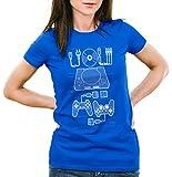 style3 PS1 Retro Gamer Camiseta para Mujer T-Shirt Mando videoconsola, Color:Azul, Talla:XS