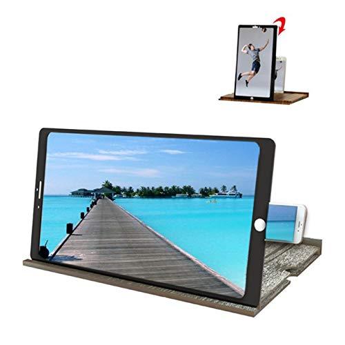 Eastor 12-Zoll-Bildschirm-Vergrößerungsglas, Faltbarer Bildschirm aus massivem Holzmaserung, gegen Blaulicht, geeignet für das Ansehen von Filmvideos auf Allen Smartphones ,(Walnuss/schwarz)