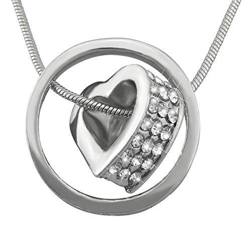 veuer gioielli per donna argento donna collana catena del cuore nel cerchio platinata chiaro pietre strass Amore Regalo da Natale per la fidanzata per le donne