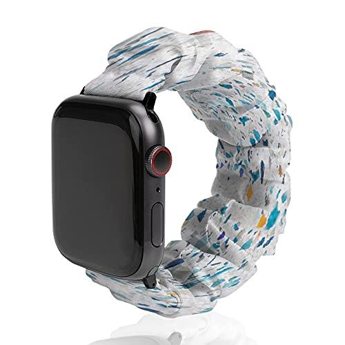 Colorido patrón de cerámica fondo de reloj banda de poliéster para Apple Watch, adecuado para mujeres y parejas masculinas, bandas elásticas compatibles con SE 6 5 4 3 2 1, 38mm/40mm,