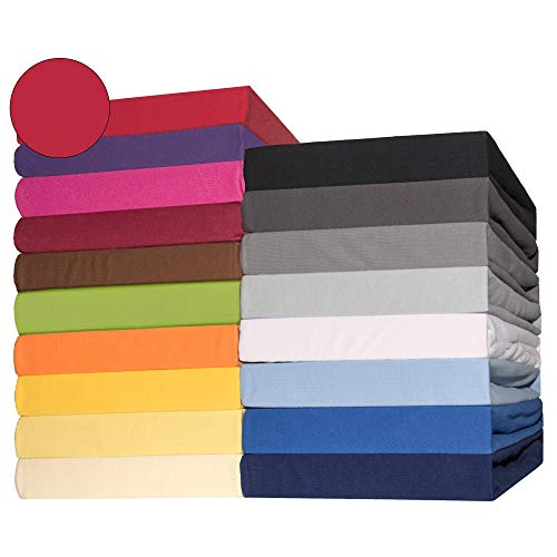 #12 CelinaTex Lucina Jersey Spannbettlaken, Spannbetttuch, Bettlaken, 180x200 – 200x200 cm, Rubinrot