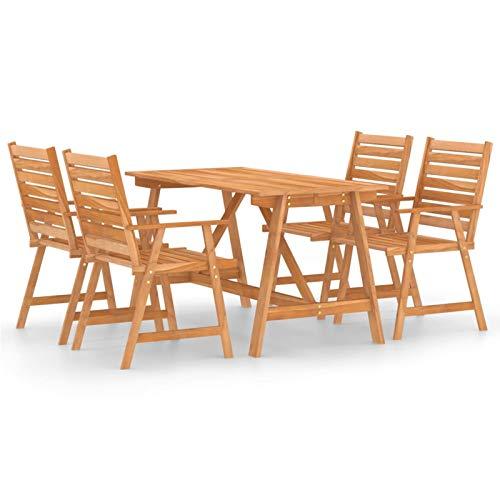 Ksodgun Juego de Comedor para jardín 5 Piezas Madera Set Muebles de Jardin para Terraza Conjunto de Sillas Maciza de Acacia
