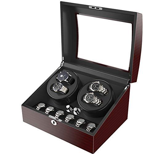CRITIRON CRITIRON Automatischer Uhrenbeweger 10 Uhren Uhrenbox für Automatikuhren Uhrendreher aus Holz mit Schloss 4+6 Braun