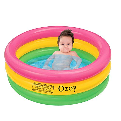 Yozo Inflatable Baby Pool Bath Water Tub with Pump for Kids (3 feet) 0-3 Years (Multi Colour)
