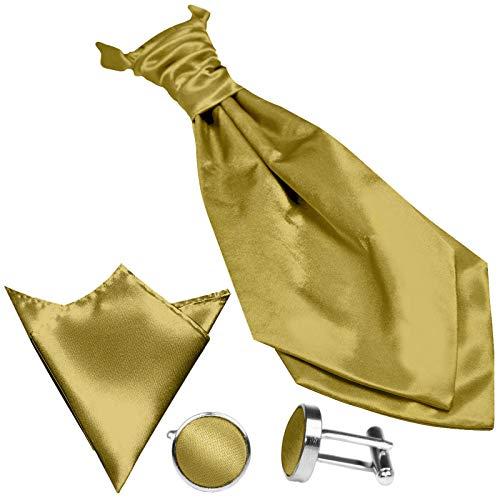 GASSANI (3er-Set Plastron Krawatten-Schal Breit, Goldene Hochzeitskrawatte Gebunden Einstecktuch Manschettenknöpfe, Z. Hochzeitsanzug Weste Frack