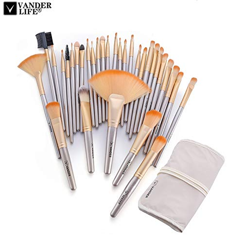 Best Quality - Makeup Brushes - VanderLife Professional Soft Champagne 32pcs Makeup Brushes Set Beauty Cosmetic Make Up Tools Eyeshadow Blush Blending with Bag - by Olwen Shop