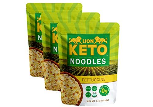 LION KETO Shirataki Konjac Pasta, Organic, Low Carb, Pre-Cooked Gluten-Free, Zero Carb, Keto, Vegan, Soy Free, Paleo, 42 OZ Fettuccine (Pack of 3)