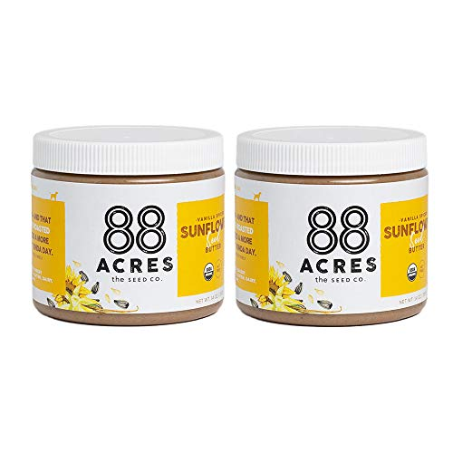 88 Acres Organic Sunflower Seed Butter   Vanilla Spiced   Keto-Friendly, Vegan, Gluten Free, Dairy Free, Nut-Free Non GMO Seed Butter Spread   2 Pack, 14 oz