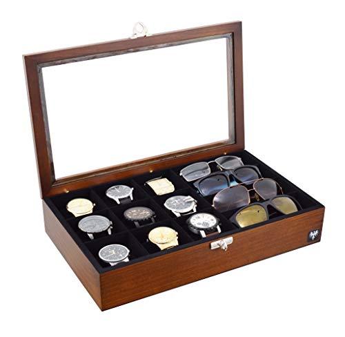 Porta 9 Relógios e 4 Óculos Total Luxo Madeira Maciça