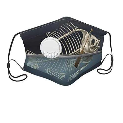 7-12Y(No Have Filter Mouth Face Mask Anti Breathable Dust Absorb Sweat Masks with Fish Skeleton in The Sea Kayaking Lifestyle Climate Illustration