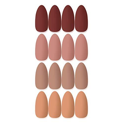 Laza 96 Pcs Colorful Fake Nails 4 Pack Stiletto Almond Peach Purplish...