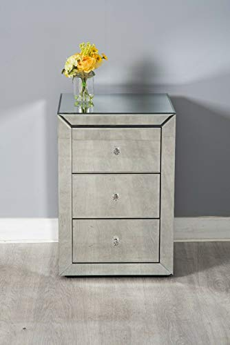 Furnituremaxi Mirrored Bedroom Furniture Pair of 3 Drawer Bedside Tables, one