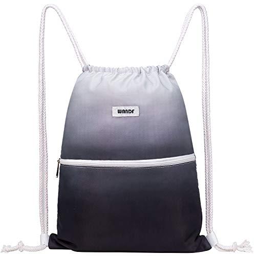 WANDF Turnbeutel Sportbeutel Gym Bag Mit Aussentasche Verstellbar Tunnelzug Gym Sack Rucksack für Damen Herren Kinder (A - Grau)