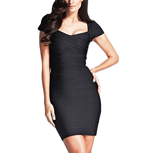HLBandage Cap Sleeve V Neck Women Rayon Bandage Dress(M,Negro)