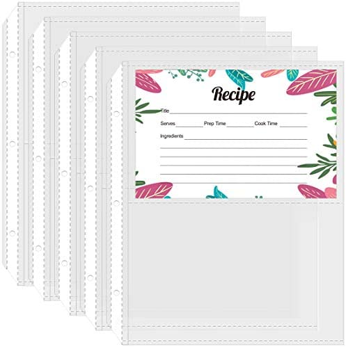 MaxGear 60 Pack Recipe Card Page Protectors 4x6 Inches for Mini 3 Ring Binder 8x9 Inches 2 Pockets product image