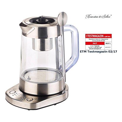 Rosenstein & Söhne Wasserkocher Tees: 2in1-Wasserkocher & Teebereiter, Senk-Sieb, 6 Temperat, 1,5l, 1500W (Wasserkocher mit Teefilter)