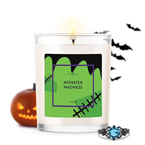 Kate Bissett Halloween Spooky Monster Madness Scented Candle and Jewelry with Surprise Ring Inside   10 oz Candle   Made in USA   Parrafin Free   Size 06