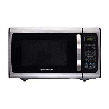 Emerson ER105005 Counter Top Microwave, 0.9 Cu Ft, Stainless and Black
