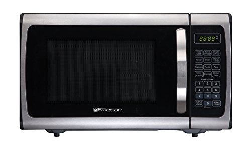 Emerson Radio Emerson ER105005 Single Microwave Oven-Stainless Steel, Black, 0.9