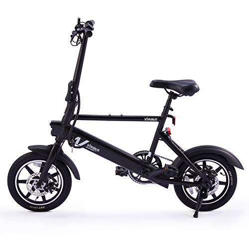 Viribus 14' Electric Bike with Folding Pedals and Handlebar   Cruiser Road Bicycle with 250W Brushless Motor & Adjustable Seat   6Ah eBike with Aluminum Frame   Adult Road Bike for Men & Women, Black