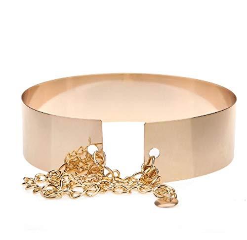 AITU Cinturon de mujer 6 cm cinturón de Cadena de Metal con Espejo Completo para Mujer Dorado cinturón de Placa Ancha metálica para Oro de Mujer
