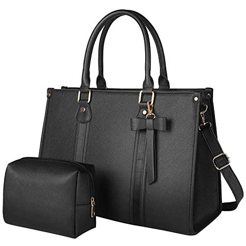 Laptop Tote Bag for Women, Large Waterproof PU Leather Work Briefcase with USB/USB-C Charging Port Casual Shoulder Bag Messenger fits 15.6 Inch, Business Handbag Satchel Purse 2pcs Set, Black