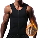 Men Hot Neoprene Waist Trainer Vest Workout Sauna Suit Smooth Zipper Tank Top Weight Loss Corset Body Shaper Gym Sweat Shirt Black