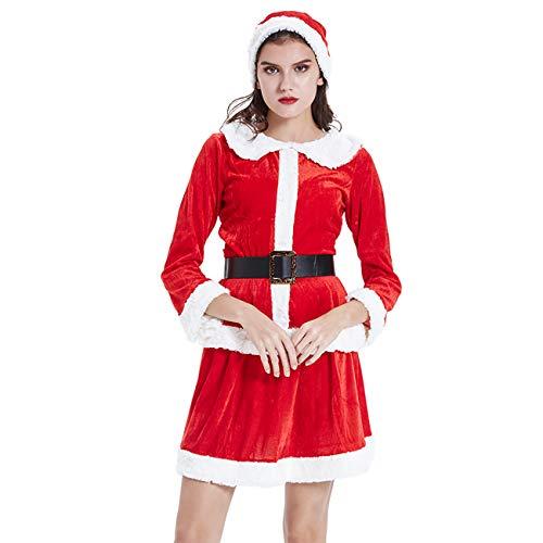 ShiyiUP Weihnachtsfrau Kostüm Nikolaus Kostüm Weihnachtsanzug Damen Weihnachten Verkleidung Santa Claus Costume (Kleid Set, M)